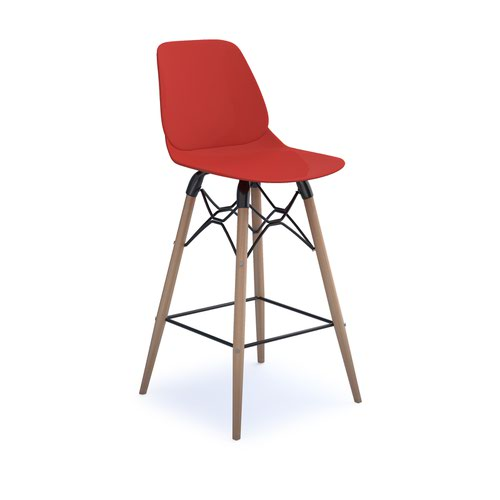 Strut multi-purpose stool with natural oak 4 leg frame and black steel detail - red