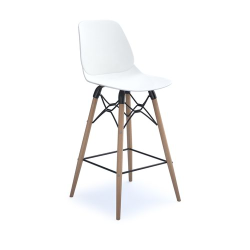 Strut multi-purpose stool with natural oak 4 leg frame and black steel detail - white