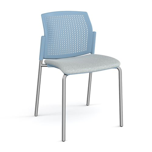 Santana 4 leg stacking chair with fabric seat and perforated blue back and chrome frame and no arms - made to order