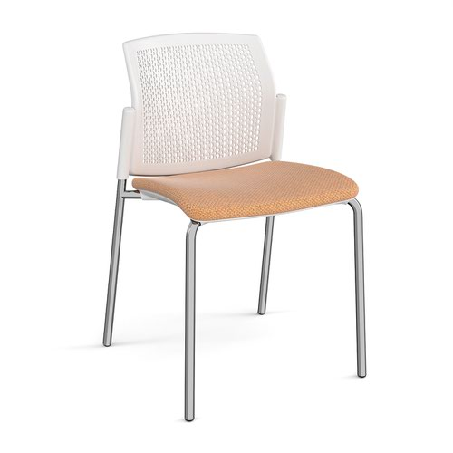 Santana 4 leg stacking chair with fabric seat and perforated white back and chrome frame and no arms - made to order