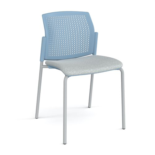 Santana 4 leg stacking chair with fabric seat and perforated blue back and grey frame and no arms - made to order