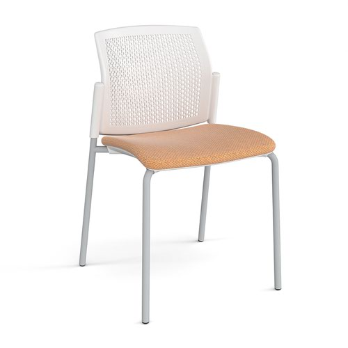 Santana 4 leg stacking chair with fabric seat and perforated white back and grey frame and no arms - made to order
