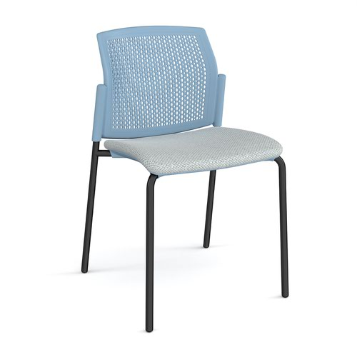 Santana 4 leg stacking chair with fabric seat and perforated blue back and black frame and no arms - made to order