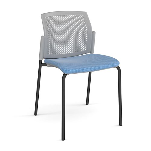 Santana 4 leg stacking chair with fabric seat and perforated grey back and black frame and no arms - made to order