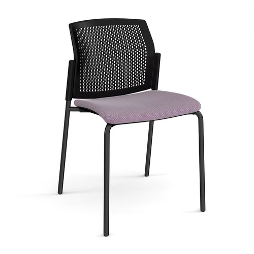 Santana 4 leg stacking chair with fabric seat and perforated black back and black frame and no arms - made to order