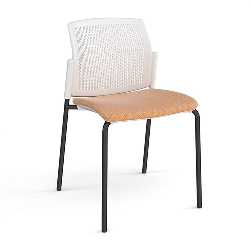 Santana 4 leg stacking chair with fabric seat and perforated white back and black frame and no arms - made to order