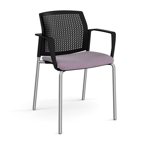 Santana 4 leg stacking chair with fabric seat and perforated black back and chrome frame and fixed arms - made to order