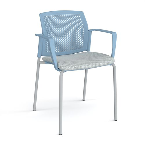 Santana 4 leg stacking chair with fabric seat and perforated blue back and grey frame and fixed arms - made to order