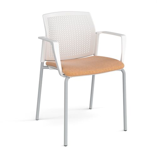 Santana 4 leg stacking chair with fabric seat and perforated white back and grey frame and fixed arms - made to order