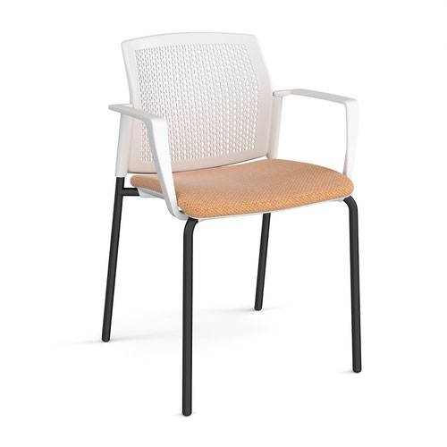 Santana 4 leg stacking chair with fabric seat and perforated white back and black frame and fixed arms - made to order