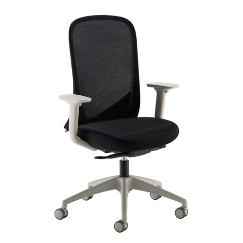 Sway black mesh back adjustable operator chair with black fabric seat and grey frame and base