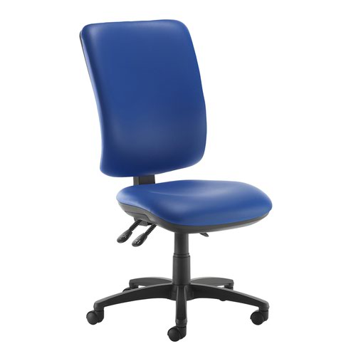 Senza extra high back operator chair with no arms - Ocean Blue vinyl