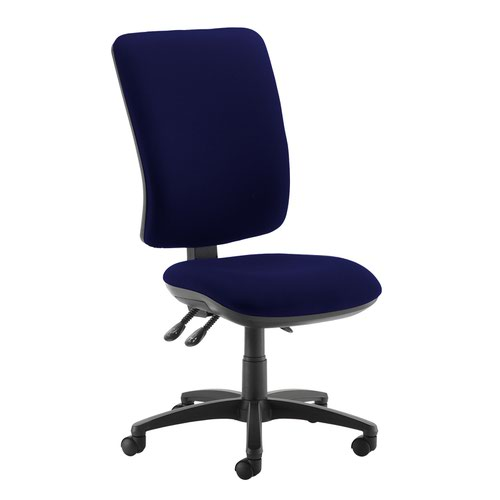 Senza extra high back operator chair with no arms - Ocean Blue