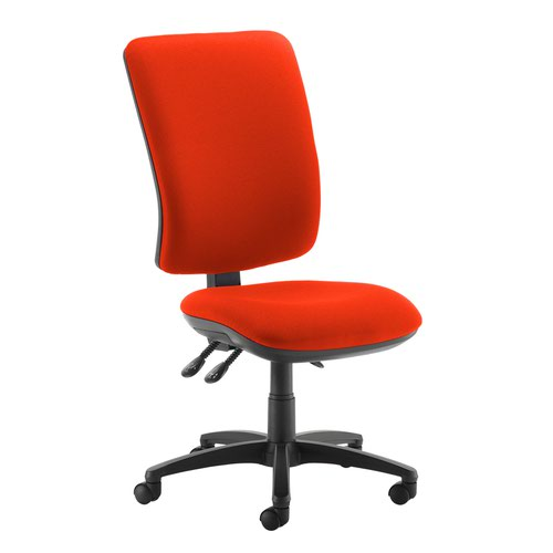 Senza extra high back operator chair with no arms - Tortuga Orange