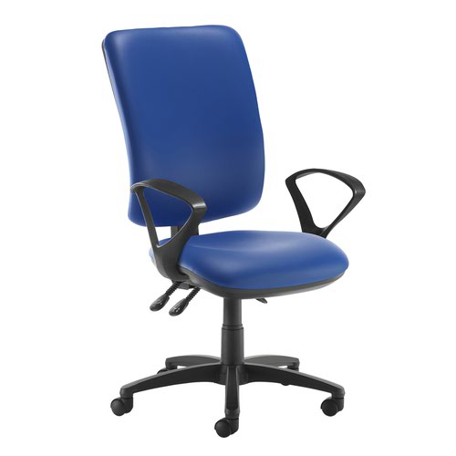 Senza extra high back operator chair with fixed arms - Ocean Blue vinyl