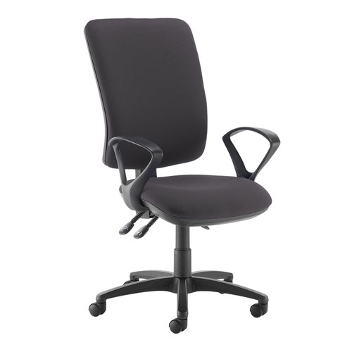 Senza extra high back operator chair with fixed arms - Blizzard Grey