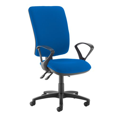 Senza extra high back operator chair with fixed arms - Scuba Blue