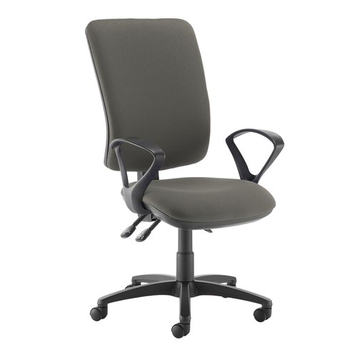 Senza extra high back operator chair with fixed arms - Slip Grey