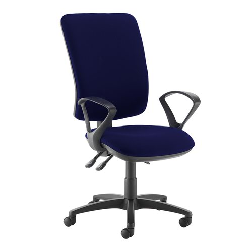 Senza extra high back operator chair with fixed arms - Ocean Blue
