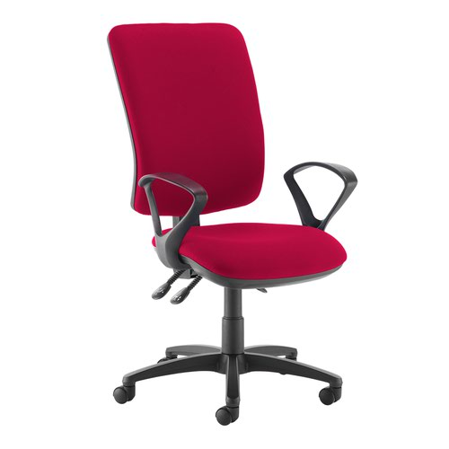 Senza extra high back operator chair with fixed arms - Diablo Pink