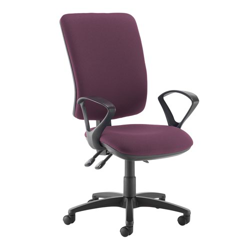 Senza extra high back operator chair with fixed arms - Bridgetown Purple