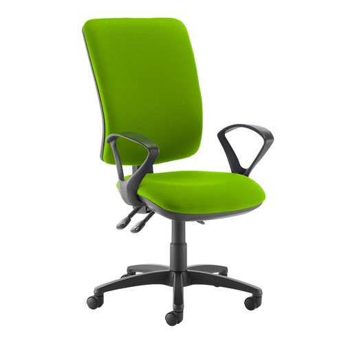 Senza extra high back operator chair with fixed arms - Madura Green