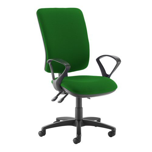 Senza extra high back operator chair with fixed arms - Lombok Green