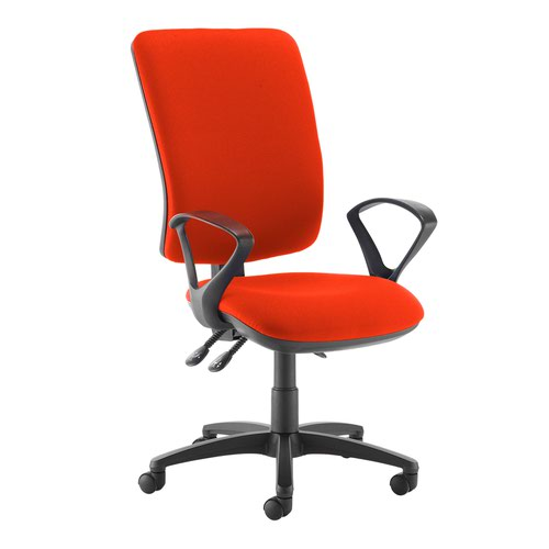 Senza extra high back operator chair with fixed arms - Tortuga Orange
