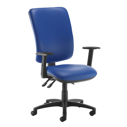 Senza extra high back operator chair with adjustable arms - Ocean Blue vinyl