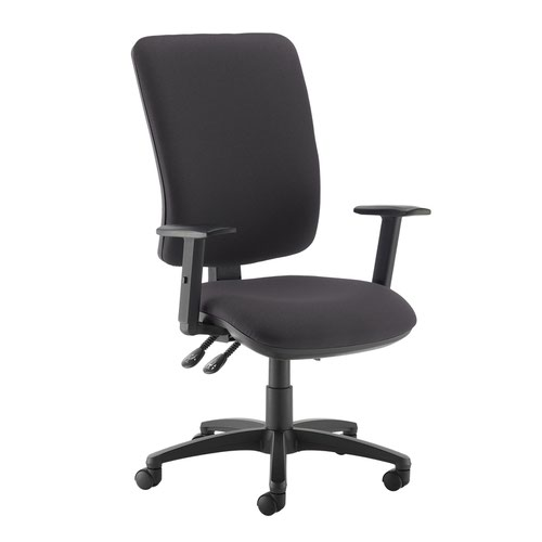 Senza extra high back operator chair with adjustable arms - Blizzard Grey