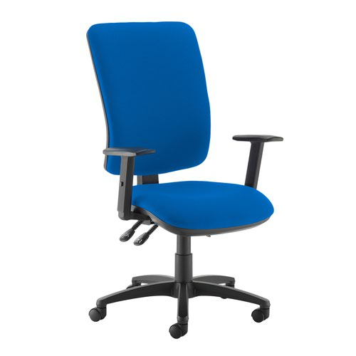 Senza extra high back operator chair with adjustable arms - Scuba Blue