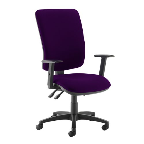 Senza extra high back operator chair with adjustable arms - Tarot Purple