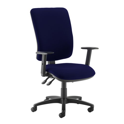 Senza extra high back operator chair with adjustable arms - Ocean Blue
