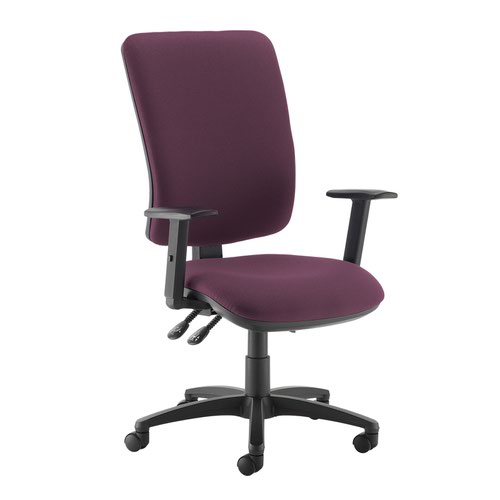 Senza extra high back operator chair with adjustable arms - Bridgetown Purple