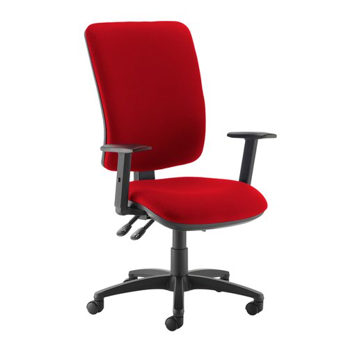 Senza extra high back operator chair with adjustable arms - Belize Red