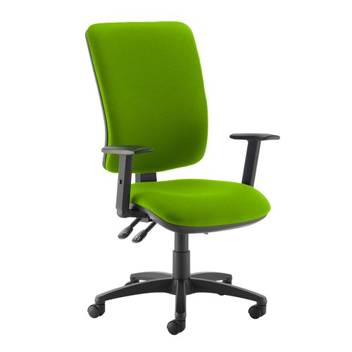 Senza extra high back operator chair with adjustable arms - Madura Green