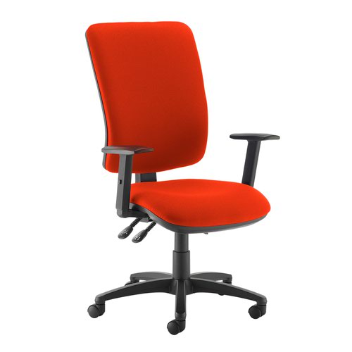 Senza extra high back operator chair with adjustable arms - Tortuga Orange