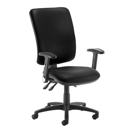 Senza extra high back operator chair with folding arms - Nero Black vinyl