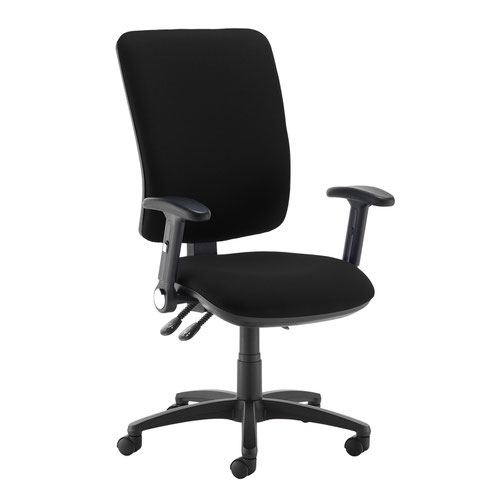 Senza extra high back operator chair with folding arms - Havana Black