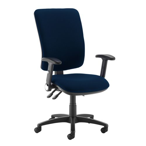 Senza extra high back operator chair with folding arms - Costa Blue