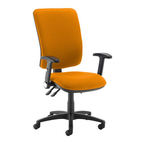 Senza extra high back operator chair with folding arms - Solano Yellow