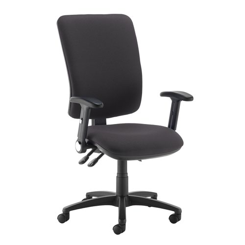 Senza extra high back operator chair with folding arms - Blizzard Grey