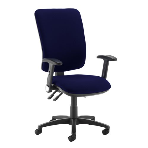 Senza extra high back operator chair with folding arms - Ocean Blue