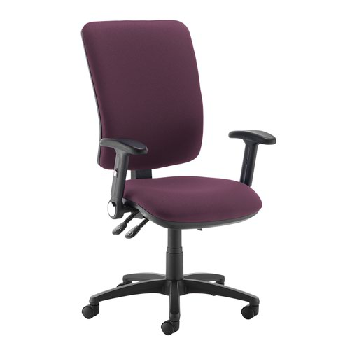 Senza extra high back operator chair with folding arms - Bridgetown Purple