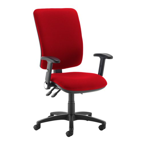 Senza extra high back operator chair with folding arms - Belize Red