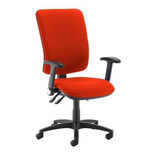 Senza extra high back operator chair with folding arms - Tortuga Orange