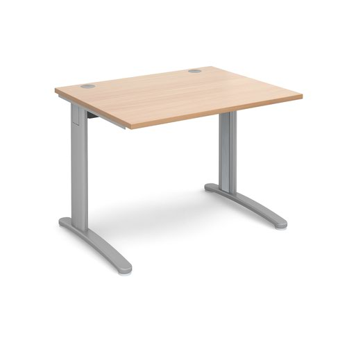 TR10 straight desk 1000mm x 800mm - silver frame and beech top