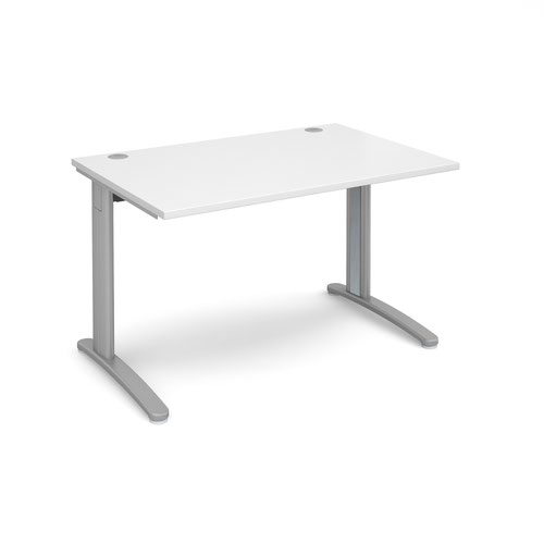 TR10 straight desk 1200mm x 800mm - silver frame and white top