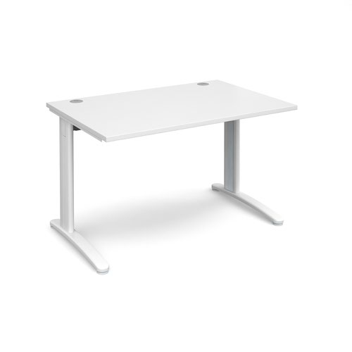 TR10 straight desk 1200mm x 800mm - white frame and white top