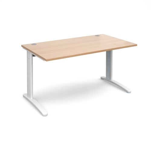 TR10 straight desk 1400mm x 800mm - white frame and beech top
